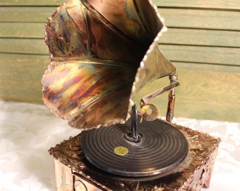Music Box, Tin Phonograph Music Box, Copper Mix Metal, Victorian Style Record Player