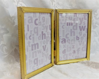 Folding Photo Frame - Gold Vintage Picture Frame - Double Photo