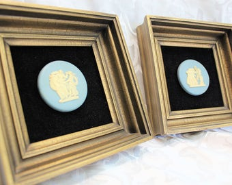 Blue Cameo Art Made in England Set Of Two