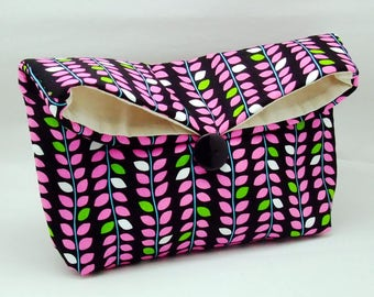 Foldover clutch, Fold over bag, clutch purse, evening clutch, wedding purse, bridesmaid gifts - Hot pink leaves (Ref. FC75 )