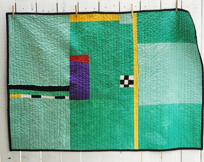 Organic Cotton Quilt, Hand-Dyed Organic Cotton Quilt, Fiber Art Quilt, Wall Hanging, Cabin Quilt, Couch Quilt, Toddler Quilt