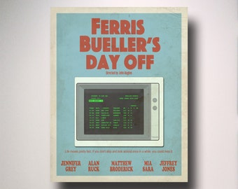 Ferris Bueller's Day Off Minimalist Movie Poster / Wall Art / Movie Film Poster
