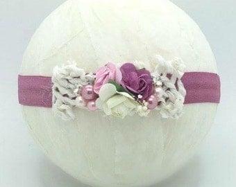 Newborn Vintage pink headband, Newborn photography prop, girls headband,mauve pink, flower headband, small headband,baby headband,flowergirl