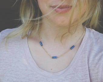 Tri-Lapis Necklace - Gold Minimal Modern Bridesmaid Gift Jewelry Good for the Soule