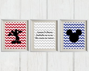 8x10 Mickey Mouse Set of 3 Printables   Nursery Decor   Bedroom Decor - INSTANT DOWNLOAD