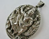 Antique Victorian Era Indian Ornate Sterling Silver Locket Hindu God - Souvenir of the Indian Raj Era - Good Condition - Unusual motif