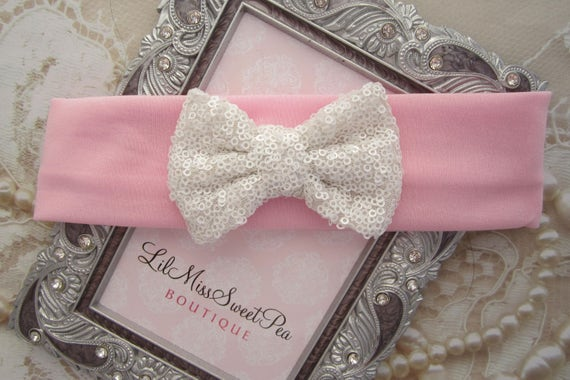 White or Baby Pink Lycra Headband with White Sequin Bow, baby headband, infant bow, girl headband, wide headband, by Lil Miss Sweet Pea