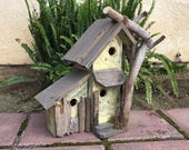 Rustic Condo Birdhouse Handmade Functional Farmhouse Birds Nest Box, Yellow & Grey Bird House, Driftwood n Moss Accents, Item #505942884
