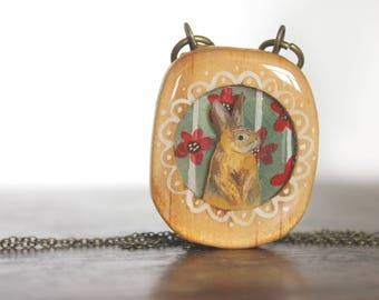 Summer Bunny - Handmade upcycled necklace