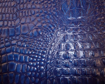 "Leather 12""x12"" ALLIGATOR Navy / Dark Royal Blue Crocodile croc gator Embossed Cowhide PeggySueAlso™ E2860-13"