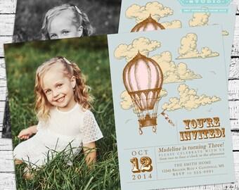 Custom Vintage Hot Air Balloon Photo Invitation