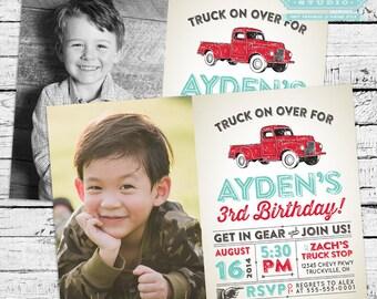 Vintage Truck Photo Invitation