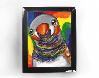 Zebra Finch Bird Print, Pet Art, Animal Portrait, Rainbow Decor, Bird Lover Gift, Wildlife Wall Art, Colorful Artwork, Custom Size, ACEO