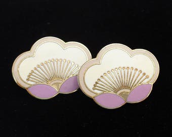 Vintage Laurel Burch Orchid Earrings, Orchids in Lavender and Cream, 1980s Posts