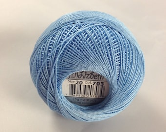 Lizbeth Tatting Thread - Size 20 - Solid Light Sky Blue - Color #703 - Made by Handy Hands - Your Choice of Amount