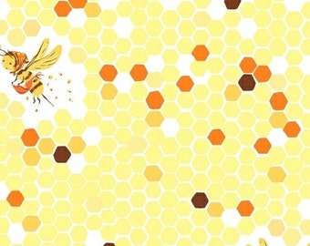 Half metre Yellow Hex Bee, OOP Heather Ross, Briar Rose