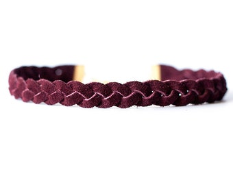 Braided Leather Choker / Necklace / Sangria Suede