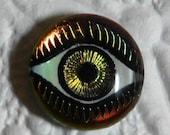 25% off Birthday SALE Iris Evil Eye Cabochon 14mm Green Pink Gold