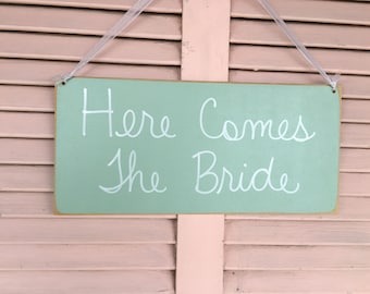 Mint Green and White Here Comes The Bride Wedding Sign, Wooden Bride Wedding Signage, Mint Wedding Signs