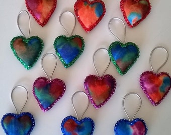 "Set of 12 Handmade Tie Dye Felt and Sequin Heart  Ornaments  2x2""  MULTI"