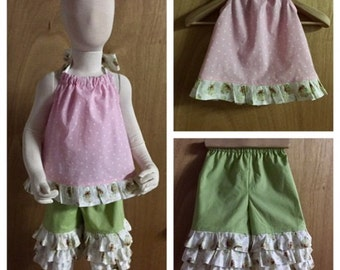 Easter Top and  Ruffle Capris, size 3t
