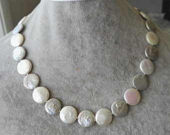 PEARL necklace - coin pearl necklace, white & gray coin pearl necklace, 13-14mm coin pearl necklace
