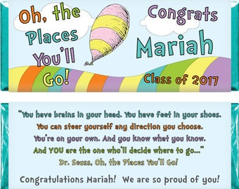 Printable - Oh, the Places You'll Go Graduation Personalized Candy Bar Favors