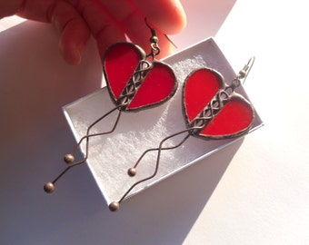 Stained glass,  wire jewelry, valentines gift, statement jewelry, heart earrings, contemporary jewelry, red earrings, gift for women, Love