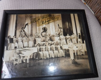 Phil Spitalny and His All-Girl Orchestra 1930's Black & White autographed photo