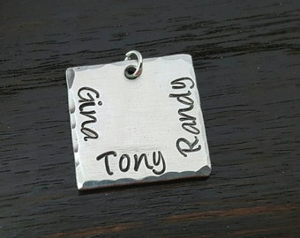 "3/4"" Square Hand Stamped Charm, Add on Charm by Miss Ashley Jewelry"