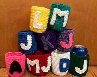 Crochet Can Cozy, Personalized Can Holder, Can Cozy With Initials, You Choose Color, Bridesmaid Gift, Gift Basket Stuffer, Bridal Party Gift