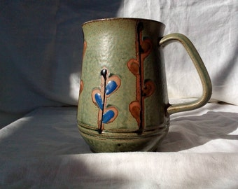 JAPAN Mid Century Modern Green Leaf Design Stein, Large Mug