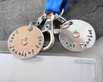 Teacher Gift, Handstamped Lanyard Tag, Zipper pull, Purse Handbag Charm, Gift for Teacher Coach Instructor, End of Term Christmas Gift
