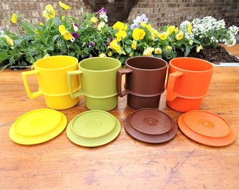 Vintage Tupperware Stacking Cups Lids Coasters