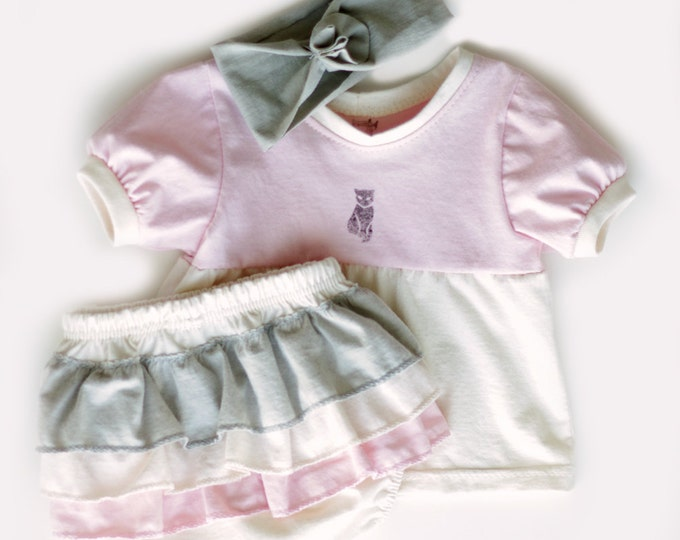 Organic Baby Welcome Home Set in Pink / Baby Shower Girl / Pink and Grey Baby Gift Set / Tunic - Ruffled Diaper-cover- Headband Gift Set