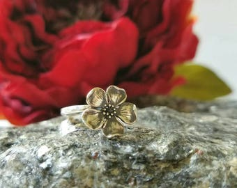 Cherry Blossom stacker ring sterling silver, flower ring, garden inspired summer and spring jewelry made to stack floral ring