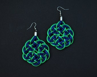 Asian style earrings, navy and green earrings, statement earrings, green and navy earrings, knot earrings, japanese knots macrame earrings