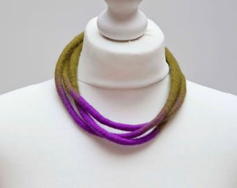Felt Necklace, Green and Purple Necklace, Multi Strand Necklace