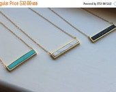 20% SALE - Howlite Necklace, Bar Necklace Gold, Howlite Jewelry, Marble Bar Jewelry Statement Necklace Turquoise Black White Bar Christmas G