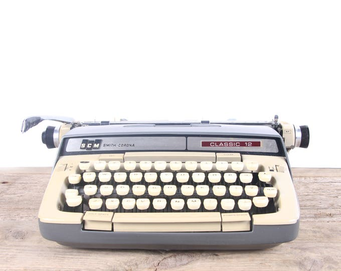 Featured listing image: Vintage Working Smith Corona Classic 12 Typewriter / Portable Manual Typewriter / Tan Grey Typewriter / Retro Typewriter / Old Office Decor