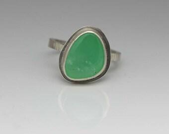 Chrysoprase Ring, Chrysoprase & Sterling Ring, Spring Green, Freeform Stone, Unisex, Size 7.75