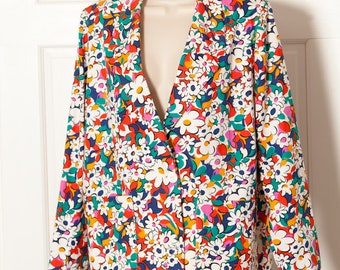Vintage 80s 90s Bright Colorful Floral Print Womens Blazer Jacket - homemade
