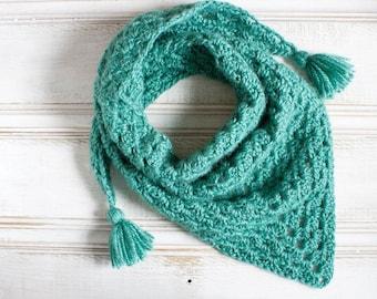 Crochet Teal Boho Tassle Granny Shawl Triangle Scarf Turquoise Blue Green Autumn Fall Accessories Boho Chic Mini Shawl Shawlette Teen Gift