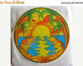 SALE Vintage Rare Illuminations Sunset on the Beach with Palm Trees Sticker 80's
