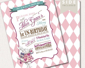 Alice in Wonderland Invitation / Mad Hatter Tea Party - Printable Birthday or Wedding /  Baby Shower - Teal