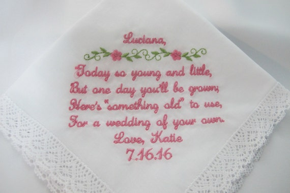 Embroidered Wedding Handkerchief for the Flower Girl