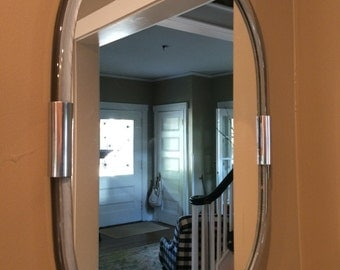 Lucite and Chrome Oval Mirror, Mid Century Mirror, Oval Mirror, Modern Mirror, Wall Mirror, Hall Mirror