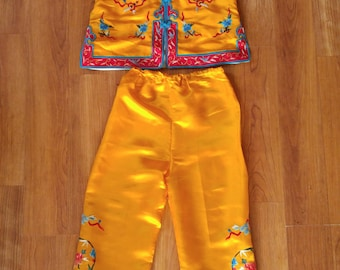 70s Asian bright yellow embroidered childrens pajama set