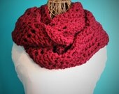 Crochet Burgundy Infinity Scarf,Knit Infinity Scarf,Cowl Scarf,Chunky Knit,Neck Wrap,Oversized Scarf,Loop Scarf,RESERVED for jw304