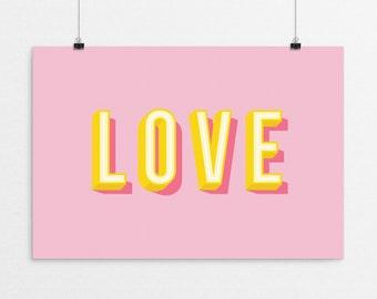 LOVE Typography - a design print // 8.5x11 or 13x19 // 5 color options // Scandinavian modern nursery